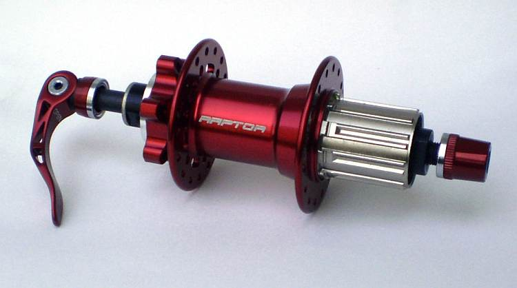 Raptor Bomber MTB-QR, 32 H, red Disc read hub, 10 mm QR