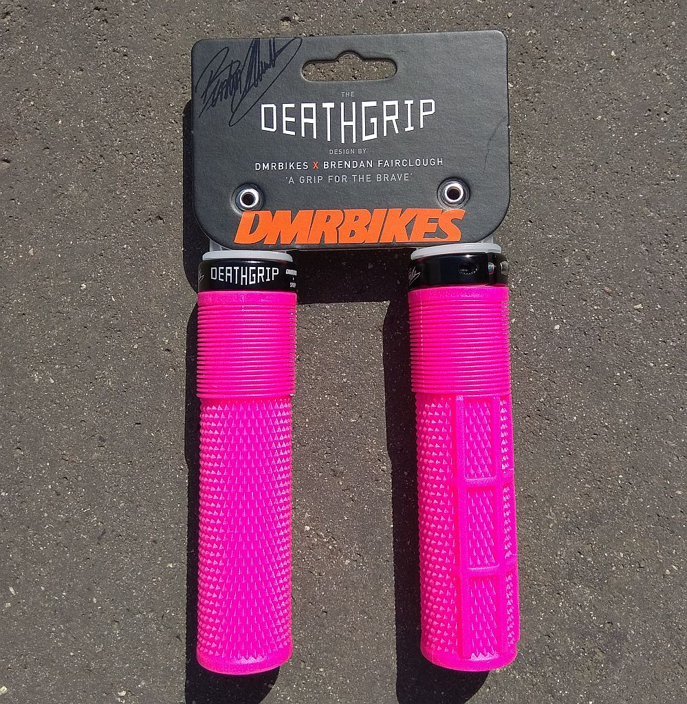 DMR Deathgrip MTB grips Pink Flanged Lock on Thick Soft