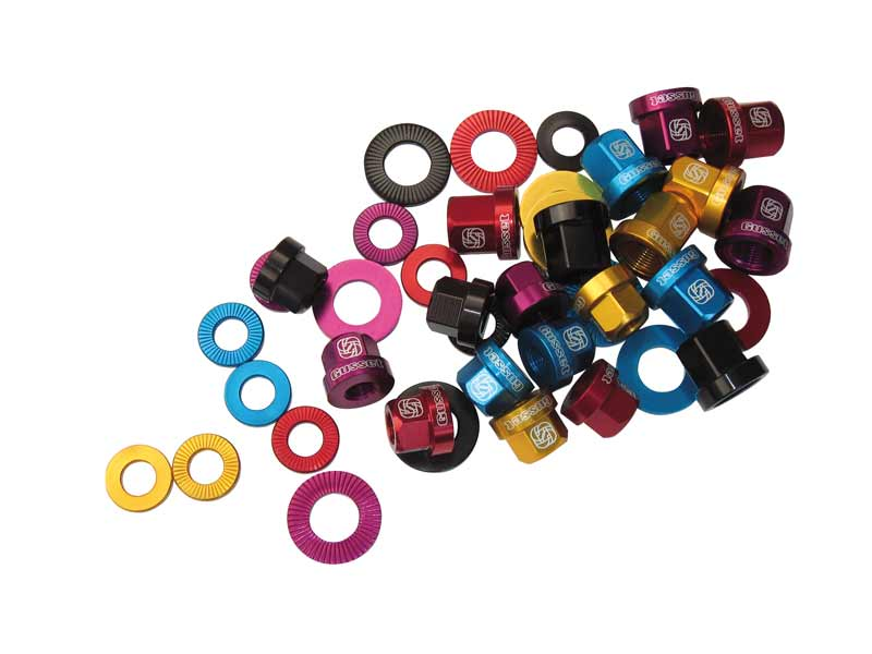 "Gusset Alu nuts 3/8"" - colours (pair)"